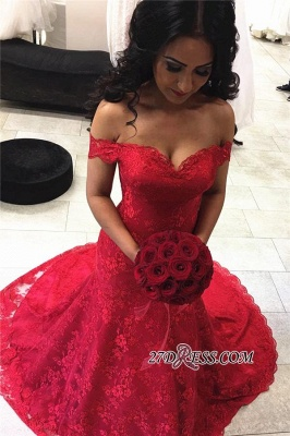 Red Elegant Lace Court-Train Mermaid Off-the-shoulder Evening Dress UKes UK_1