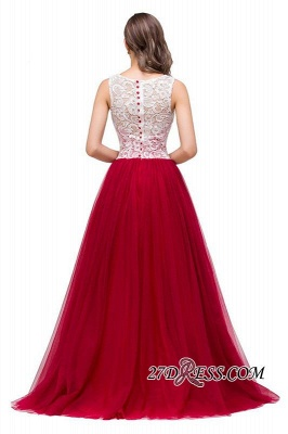 Tulle Sexy Red Sleeveless Floor-Length A-Line Prom Dress UK_5
