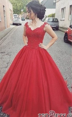 Tulle Lace-up Lace Straps Modern Red Prom Dress UK BA4632_2