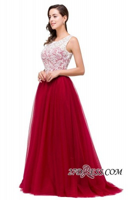 Tulle Sexy Red Sleeveless Floor-Length A-Line Prom Dress UK_1