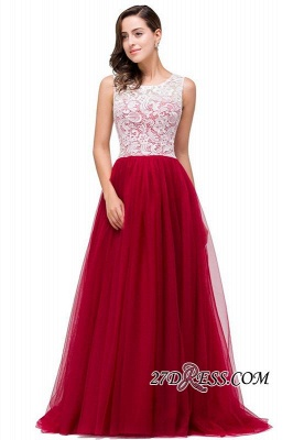 Tulle Sexy Red Sleeveless Floor-Length A-Line Prom Dress UK_6