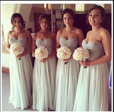 Elegant Sweetheart Sleeveless Chiffon Bridesmaid Dress UK With Lace_1