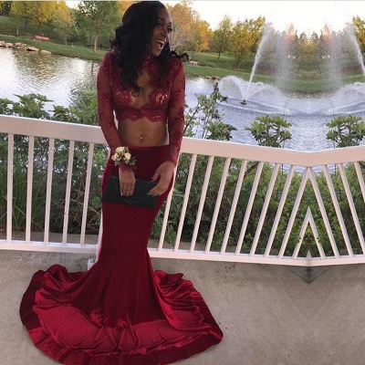 Elegant Two Pieces Burgundy Prom Dress UK Long Sleeve With Lace Appliques Mermaid BA7708_5