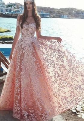Sexy Off-the-Shoulder 2019 Evening Dress UK | Lace Appliques Prom Party Dress UK On Sale_1