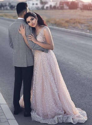 Newest Pink Lace A-line Straps Evening Dress UK   Sleeveless Evening Gown_1