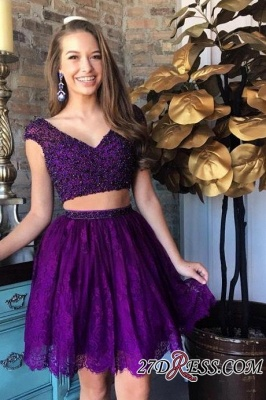 Cap-Sleeve Delicate Two-Piece Beading Lace Short Homecoming Dress UK_5