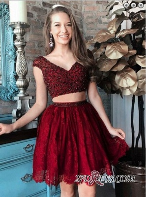Cap-Sleeve Delicate Two-Piece Beading Lace Short Homecoming Dress UK_4