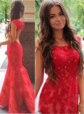 Elegant Red Lace Appliques Mermaid Evening Dress UK Sweep Train Jewel_2