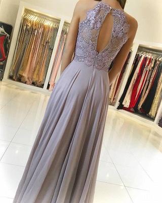 Sexy Lace Long Chiffon Prom Dress UK Sleeveless Floor Length_3