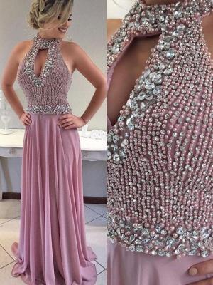Luxury Halter Mermaid Evening Dress UK Long With Beadings_3