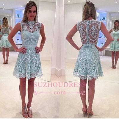 High-Neck Modern Sleeveless Lace Zipper A-line Mini Homecoming Dress UK_1