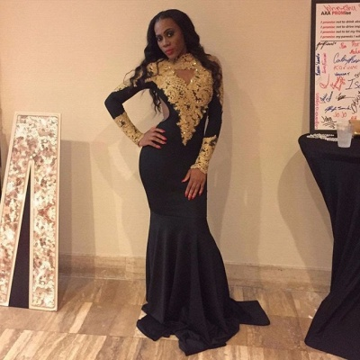 Long sleeve gold appliques prom Dress UK, mermaid evening Dress UKes UK_3