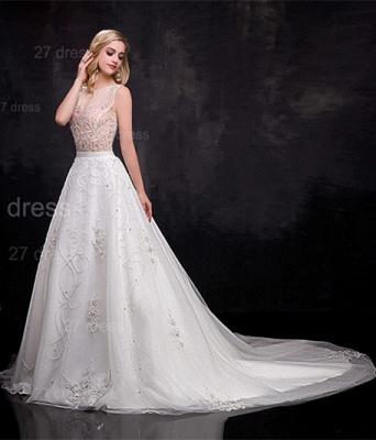 Delicate Sleeveless A-line Wedding Dress Beadss Court Train_2