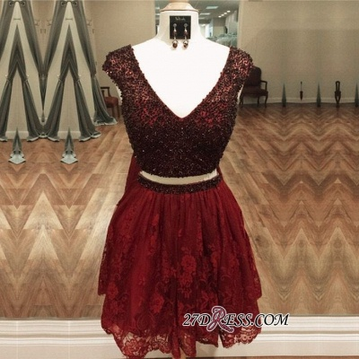 Cap-Sleeve Delicate Two-Piece Beading Lace Short Homecoming Dress UK_3