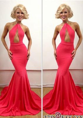 Floor-Length Peach Sleeveless Elegant Open-Back Mermaid Evening Gowns_2