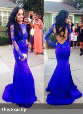 Lace Mermaid Long Sleeves Prom Dress UKes UK Royal Blue Open Back Floor Length Evening Gowns_1