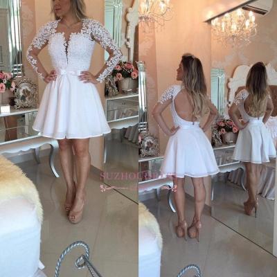 White Lace Long Sleeve Homecoming Dress UKes UK Short_1