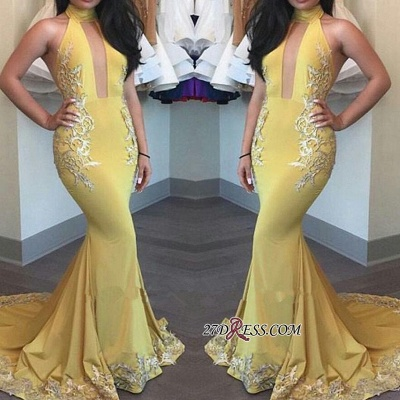 Yellow Keyhole High-Neck Appliques Mermaid Beautiful Evening Dress UK BA4288_1