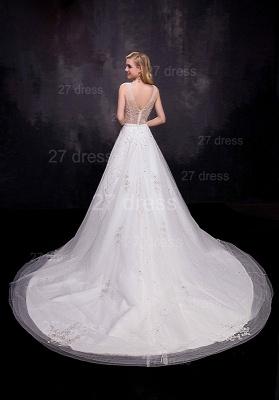 Delicate Sleeveless A-line Wedding Dress Beadss Court Train_3