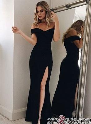 Black Split-Front Long Off-the-shoulder Simple Evening Dress UK lpl200_4