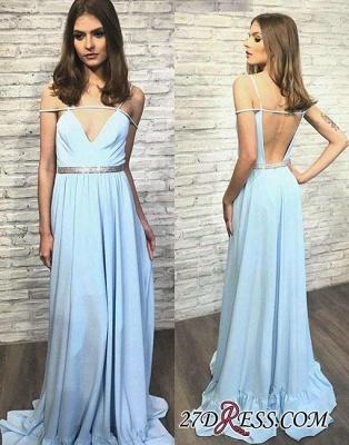 V-neck Long Stylish Backless Blue Evening Dress UK_2