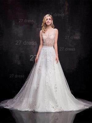 Delicate Sleeveless A-line Wedding Dress Beadss Court Train_1