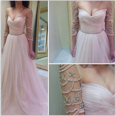 Sexy 3/4 Length Sleeve Prom Dress UK Long Tulle With Diamonds_3