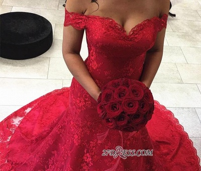 Red Elegant Lace Court-Train Mermaid Off-the-shoulder Evening Dress UKes UK_2