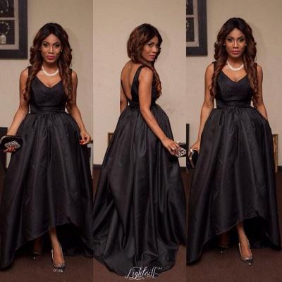 Elegant Black V-Neck Sleeveless Prom Dress UKes UK Hi-Lo Tail Party gown_3