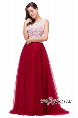 Tulle Sexy Red Sleeveless Floor-Length A-Line Prom Dress UK_2