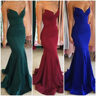 Sexy V-Neck Mermaid Evening Party Gowns Floor Length Prom Dress UK BA7876_2