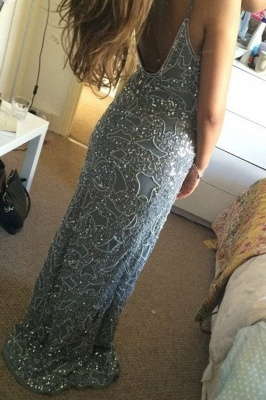Stunning Spaghetti Starps Prom Dress UKes UK Long Beadings Appliques Party Gowns_2