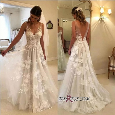 V-Neck Princess Wedding Dresses UK | Bridal Gowns With Appliques_1