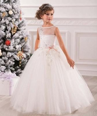 Lovely Princess Sleeveless Puffy Tulle Flower Girl Dress UK_2