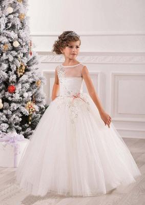 Lovely Princess Sleeveless Puffy Tulle Flower Girl Dress UK_1