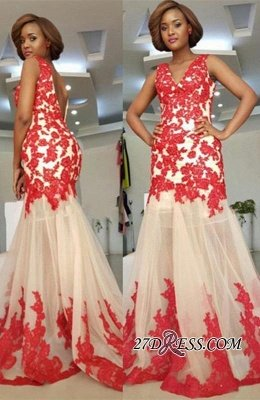 Sleeveless Straps Lace-Appliques Mermaid Modest Backless Prom Dress UK_2