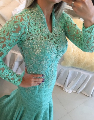 Gorgeous Long Sleeve Lace Evening Dress UKes UK Appliques Mermaid_4
