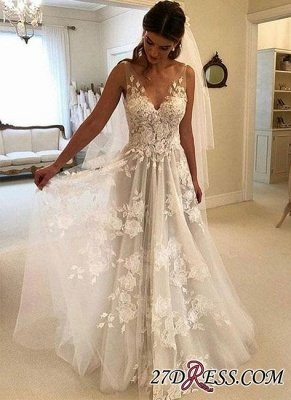 V-Neck Princess Wedding Dresses UK | Bridal Gowns With Appliques_3