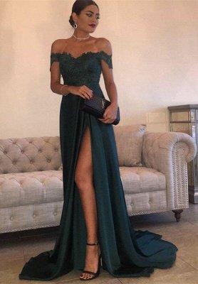 Split Lace Long Sexy Floor-Length Off-the-Shoulder Evening Dress UK_1