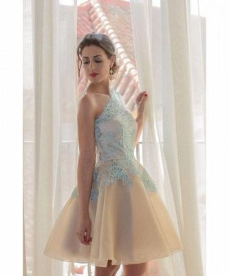 Charming One Shoulder Blue Lace Homecoming Dress UK New Arrivals Short Prom Dress UK_3