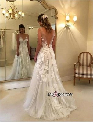 V-Neck Princess Wedding Dresses UK | Bridal Gowns With Appliques_2