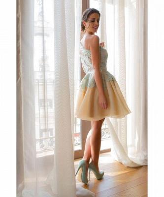 Charming One Shoulder Blue Lace Homecoming Dress UK New Arrivals Short Prom Dress UK_4