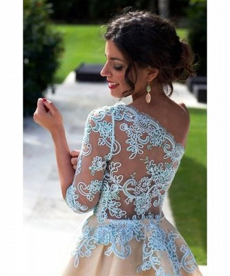 Charming One Shoulder Blue Lace Homecoming Dress UK New Arrivals Short Prom Dress UK_5