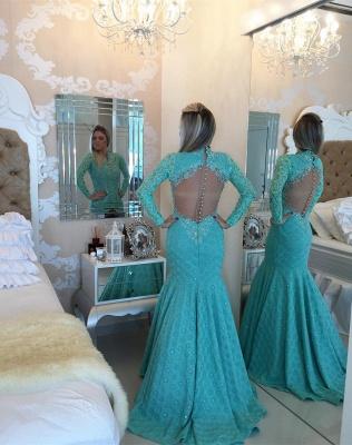 Gorgeous Long Sleeve Lace Evening Dress UKes UK Appliques Mermaid_3