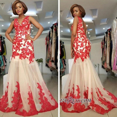 Sleeveless Straps Lace-Appliques Mermaid Modest Backless Prom Dress UK_1