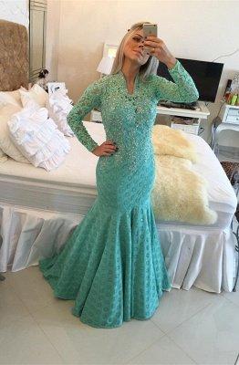 Gorgeous Long Sleeve Lace Evening Dress UKes UK Appliques Mermaid_1