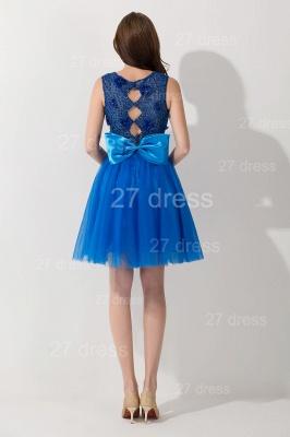 Modern Royal Blue Short Cocktail Dress UK Sleeveless Beadings Bowknot_2