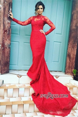 Mermaid High-Neck Long-Train Appliques Red Long-Sleeves Lace Evening Dress UKes UK BA3865_2