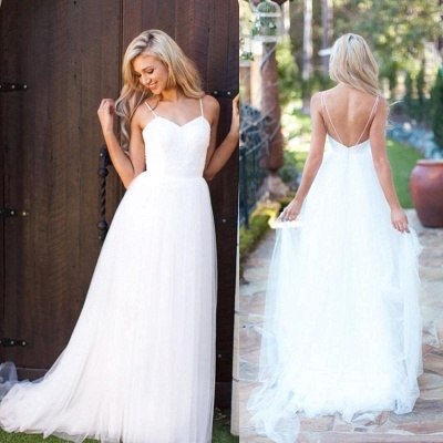 Hot Summer Beach Wedding Dress Long Tulle Spaghetti Straps_3