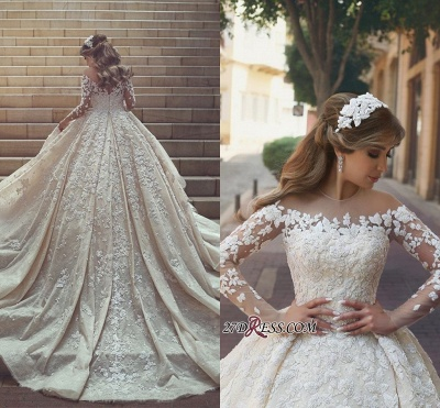 Tulle Crystal Long-Sleeves Gorgeous Appliques Wedding Dress BA6989_1